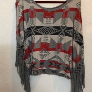 Denim and supply poncho type shirt. Large